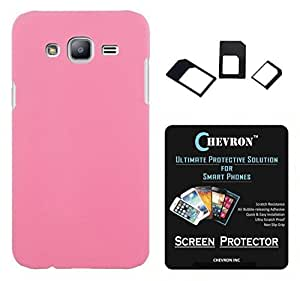 Chevron Rubberized Matte Hard Back Cover Case for Samsung Galaxy J5 with HD Screen Guard & Multi Sim Adapter (Light Pink)