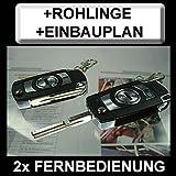 ZV88R9 Klappschlüssel Funk-Fernbedienung mit Blinkerbestätigung + Rohlinge + spezifischer Einbauplan
