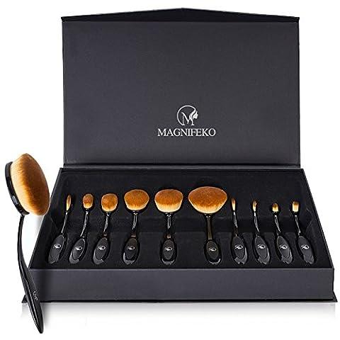 Professional Brosse Maquillage ovale–Lot de 10pinceaux avec motif Design doux Brosse à dents pour fond de teint, Correcteur, BB Crème, poudre