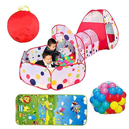 ADATEN Tenda da Gioco per Bambini Crawl Tunnel Ball Pool 3 in 1 Playhouse Basketball Shooting Ring Pop-up Tenda Pieghevole Portatile Include 100 Palline e Borsa per riporre tappetini