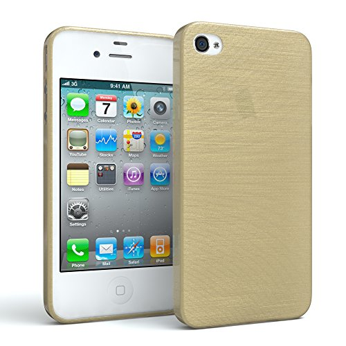 EAZY CASE Hülle für Apple iPhone 4 / 4S Schutzhülle Silikon, gebürstet Slimcover in Edelstahl Optik, Handyhülle, TPU Hülle/Soft Case, Backcover, Silikonhülle Brushed, Gold - Iphone 4s Aluminium Bumper Case