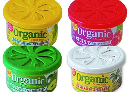 4 Organic Duftdosen mit verstellbarem Dosierdeckel im beliebten Früchte Mix: 1 x Green Apple - Apfel, 1 x Cherry - Kirsche, 1 x Malibu Fruits- Tropic Mix, 1 x Sweet Melon - Melone