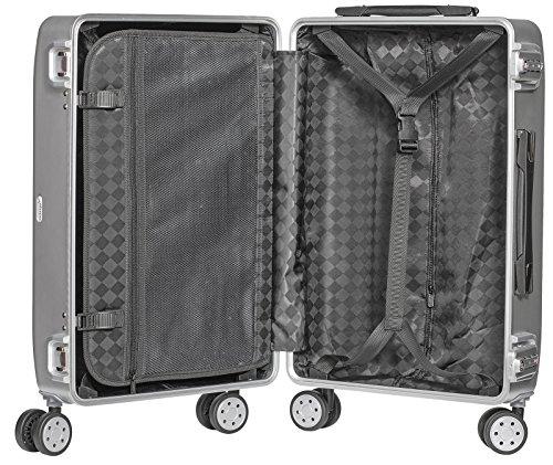 Packenger Alu Reisekoffer mit 68 Liter Fassungsvermögen in der Farbe Silber, 61x46x25cm, Zwei TSA Schlösser - 2
