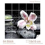 Graz Design 765152_15x15_130 Fliesenaufkleber Steine und Lilie | Bad-Fliesen mit Fliesenbildern überkleben (Fliesenmaß: 15x15cm (BxH)//Bild: 130x130cm (BxH))