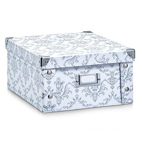Zeller 17972 Aufbewahrungsbox Vintage, Pappe, weiß, ca. 31 x 26 x 14 cm