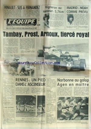EQUIPE (L') [No 11498] du 02/05/1983 - HINAULT - SUS A FERNANDEZ - VIGNERON AU SOMMET - MADRID - NOAH - TAMBAY - PROST ET ARNOUX - RENNES - NARBONNE - BASKET - BATEAUX - RIGUIDEL - TENNIS DE TABLE - VOLLEY.