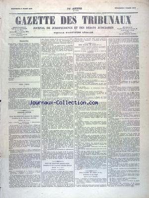 GAZETTE DES TRIBUNAUX [No 16128] du 05/03/1879 - JUSTICE CIVILE - COUR DE CASSATION - COUR D'APPEL DE PARIS