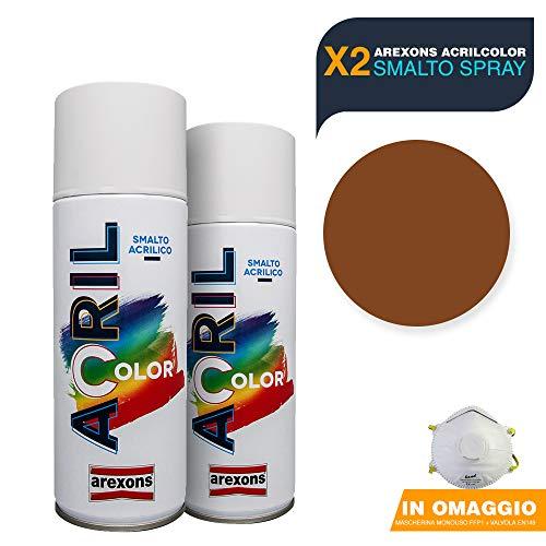 AREXONS Smalto Acrilico Spray per tutte le superfici 2 Bombolette da 400ml + OMAGGIO Mascherina monouso (MARRONE CHIARO Ral 8003)