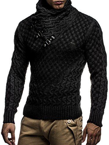 LEIF NELSON Herren Pullover Strickpullover Hoodie Sweatshirt Pulli Langarm Schalkragen LN5255 Schwarz-Anthrazit