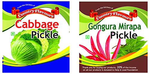 Country Flavours Combo-gongura Mirapa Pickle 250 Grams & Cabbage Pickle 250 Grams