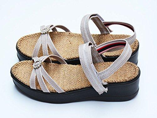 XY&GKBettwäsche Sandalen Frauen alleinigen Foot Pads der Sommer Damen Sandalen, komfortabel und schön N-37 Camel