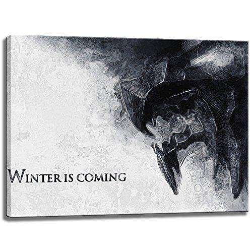 Winter Is Coming, Game of Thrones Motiv auf Leinwand im Format: 80x60 cm. Hochwertiger Kunstdruck als Wandbild. Billiger als ein Ölbild! ACHTUNG KEIN Poster oder Plakat! -