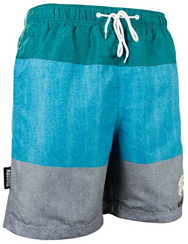 GUGGEN MOUNTAIN Herren Badeshorts Beachshorts Boardshorts Badehose mit Streifen *High Quality Print* Gruen Grau XL