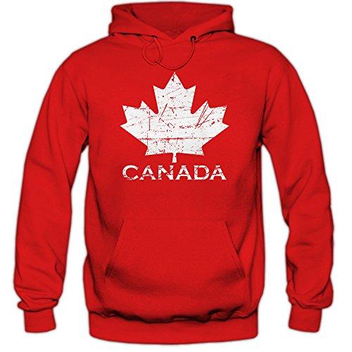 Shirt Happenz Canada Hoodie Ahornblatt Eishockey WM Kanada CAN Vintage Kapuzenpullover, Farbe:Rot (Red F421);Größe:XL (Eishockey-kanada-bekleidung)
