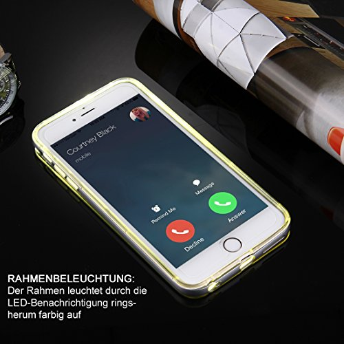 Hülle für iPhone 6 / 6S mit LED Blitzlicht Schieberegler für Leuchteffekt transparente Handyhülle aus TPU / Silikon Mix mit Polycarbonat Rahmen in Rosegold von wortek Grau