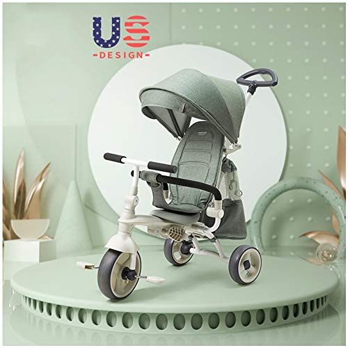 GSDZSY - Lightweight Foldable Children Tricycle, Comfortable Adjustable Seat, Removable Push Handle Bar,With Safety Fence,1-6 Years Old