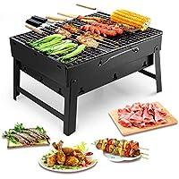 Uten Barbecue Carbone Portatile, Barbecue Pieghevole per BBQ all'aperto Giardino Terrazza Campeggio Picnic (Nero)