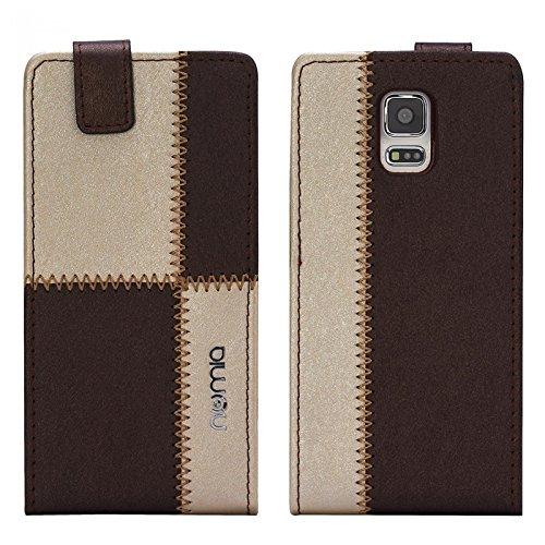 Samsung Galaxy S5 Mini Hülle, numia Handyhülle Handy Schutzhülle [Handytasche mit Standfunktion und Kartenfach] Pu Leder Tasche fürSamsung Galaxy S5 Mini (SM-G800F) Case Cover [Braun-Beige]