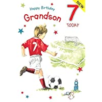 Footballer Grandson Age 7 - Large Luxury 7th Birthday Card