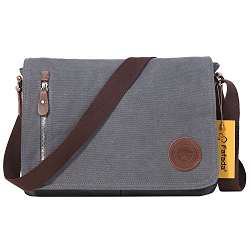 Fafada Umhängetasche Herren Damen Retro Canvas Leder Schultertasche Handtasche Schultasche Messenger Bag Unitasche Männer Tasche (Räumverkauft C) Grau