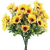 HUAESIN 4Pcs RamoFloresArtificiales Decoración GirasolesArtificiales Coronas Flores Artificiales...
