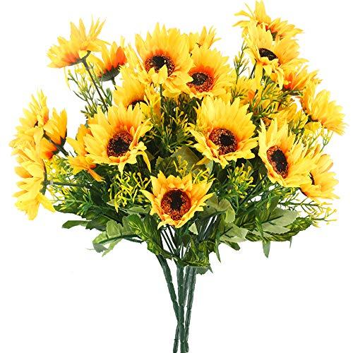 Huaesin 4pz girasoli finti con stelo girasoli finti per decorazioni bouquet fiore girasoli artificiali fiori artificiali da interno esterno per decorazioni casa soggiorno balcone vaso giardino (30cm)