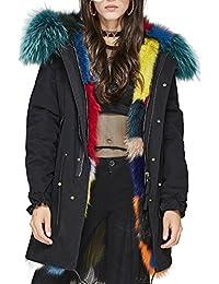 S.ROMZA Mujeres Large Raccoon Fur Collar con capucha larga Abrigos Real Fox Fur Lining Parka