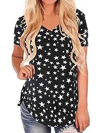 7e7879c4e URIBAKY- Panel de Bohemio para Mujer Camiseta de Manga Corta con Hombros  Blusa