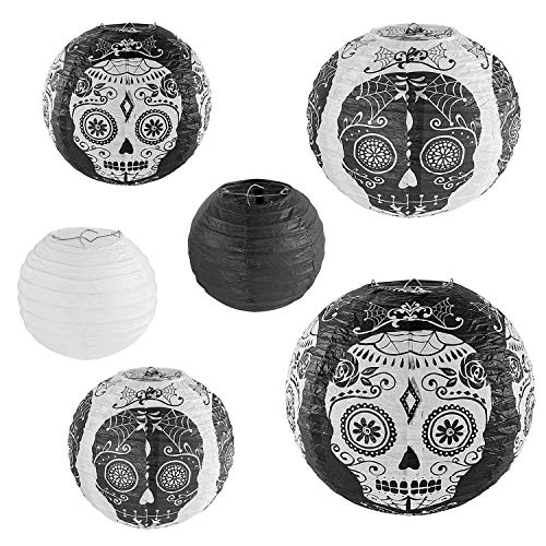 Totenkopf-Design Tag der Toten Chinesisch/Japanisch Hängende Schwarz-Weiß Papierlaternen Metallrahmen für gruselige Halloween-Party, Home Lamps, Spukhaus, Event-Dekoration (6er Set)