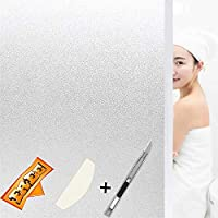 Tiabless Frosted Window Film Non-Adhesive Privacy Window Film Static Cling Frosted Glass Film Decorative Stickers Anti-UV Glass Films for Privacy Office Meeting Room Bathroom Living Room 45 * 200 CM