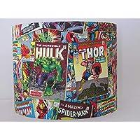 Handmade Retro Marvel Comic Book Hulk Spiderman Captain America Fabric Drum Lampshade Lightshade