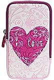 Muvit Love Heart Custodia con Zip Universale, Taglia XL, Multicolore