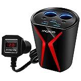 MoKo Chargeur de Voiture,Adaptateur Secteur avec 3 USB 3.1A Ports + 2 Briquet à Cigarettes + Surveillance de la Tension de la Batterie pour iPhone X/8/8Plus,Samsung Galaxy S8,Smartphone,Tablette,Noir