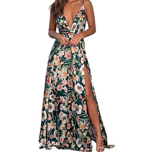 Fcostume Damen Sommerkleid, Frauen Arbeiten reizvolles V Ansatz Druck Riemenpunkte Gabel ärmelloses Sommer Kleid um