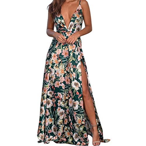 t V-Ausschnitt Kurze Ärmel Strandkleid Boho Blumendruck Split Kleid Sommerkleid MaxiKleid Mit Gürtel ()
