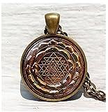 Sri Yantra Colgante, Sagrada Geometría Joyas, Antiguo Mandala Antiguo, Joyería para Hombre, Collar para Hombre, Sri Yantra