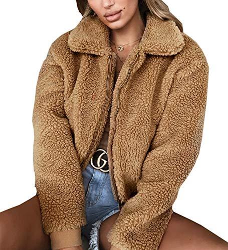 3e8dc540e5 Elevesee Women's Lapel Zip up Jacket Faux Shearling Shaggy Warm Sweater Coat
