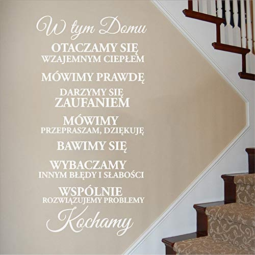 Polski Wersja In diesem Haus Home Decal Familie Vinyl Wandaufkleber, Polen Wall Decal Vinyl Wandaufkleber Art Home Decoration 1 150 * 75cm