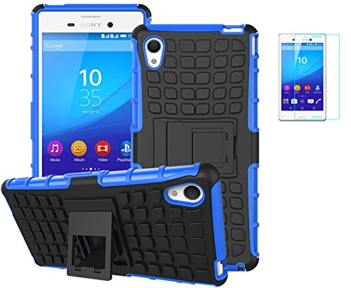 Preisvergleich Produktbild Sony Xperia M4 Aqua(2015) Hülle mit Schutzfolie, TPU+PC Ultra Slim Silikon Tough Rugged Dual-Layer Hardcase with Built-in Kickstand Thin Stand Case