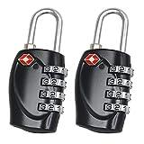 2 Stück Schwarz TSA Schloss Reiseschloss Für Koffer Gepäck Sicherheit 4 Stellige Kombination Anzahl Vorhängeschloss