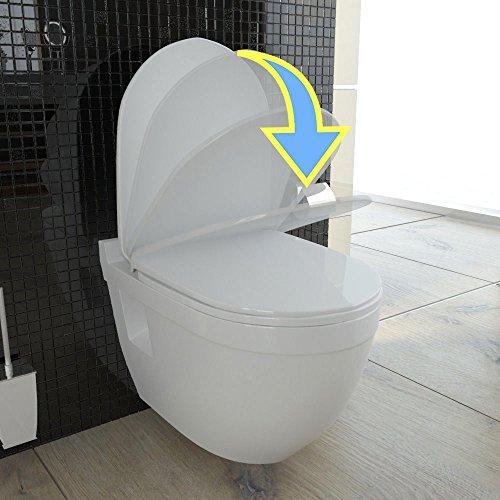 Wand Hänge WC mit WC-Sitz inkl. Soft-Close Weiss Keramik Toilette mit Nano-Beschichtung Tiefspüler passend zu GEBERIT - 2