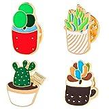 Gespout 4pcs Bello Cactus Bonsai Fiori Moda Lega Olio Gocciolante Spilla Fibbia per Sciarpa di Seta Adatto a Tutte Le Donne È Il Miglior Regalo di Scelta