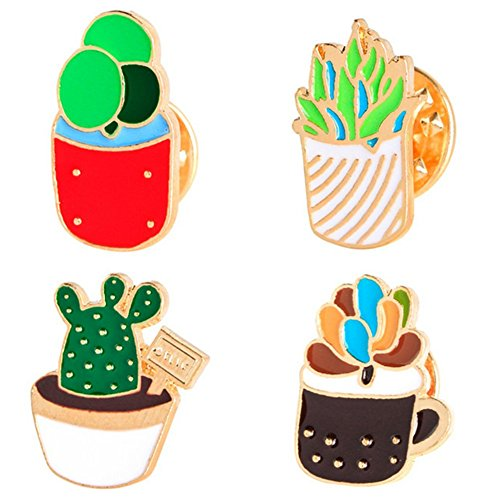 itemer-cute-cartoon-plant-flower-cactus-brooch-enamel-pin-badge-brooch-for-clothes-bags-4-pcs