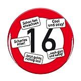 Herz & Heim® Riesen Verkehrsschild Button zum 16. Geburtstag