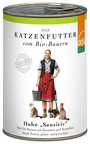 defu Bio Nassfutter Huhn für Katzen Gluten und Getreidfrei 410 g, 12er Pack (12 x 410 g)