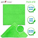 AllExtreme Lint Free and Streak Free Microfiber Cleaning Towel Dust Cloth for Car and Motorcycle (Green, 40 x 40 cm, 2 Pcs)