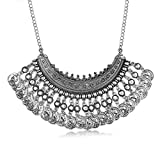 #6: Shining Diva Fashion Oxidised Silver Jewellery Bohemian Antique Vintage Coin Party Wear Necklace For Girls & Women