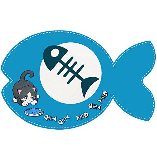 alles-meine.de GmbH Haustier Unterlage / Platzdeckchen -  Katzen - Fisch & Fischgräte - BLAU  - 44 cm * 29 cm - wasserfest - abwischbar & abwaschbar / biegbar - Napfunterlage /.. -