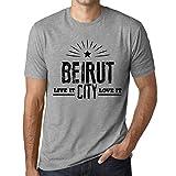Photo de Homme T Shirt Graphique Imprimé Vintage Tee Live It Love It Beirut Gris Chiné par One in the City