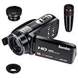 Camcorder,Besteker Video Camcorder DV 3,0 TFT HDMI 1080p 24 LCD 16x Zoom Hd Video Recorder mit Fernbedienung und Gesichtserkennungsfunktion(UKZ18)